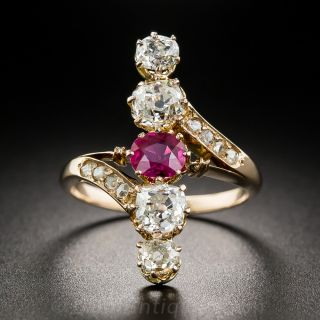 Victorian Ruby and Diamond Dinner Ring - 1
