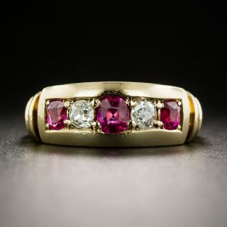 Victorian Ruby and Diamond Five Stone Ring - 2