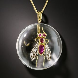 Victorian Ruby And Diamond Fly Pendant - 2