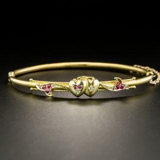 Victorian Ruby and Diamond Hearts Bangle Bracelet - 2