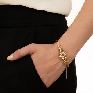 Victorian Ruby and Diamond Hinged Bangle Bracelet