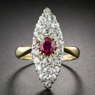 Victorian Ruby and Diamond Navette Shaped Dinner Ring - 1