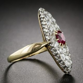 Victorian Ruby and Diamond Navette Shaped Dinner Ring