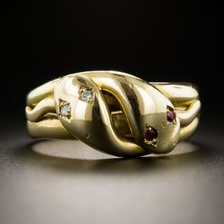 Victorian Ruby and Diamond Snake Ring