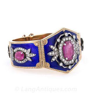 Victorian Ruby, Diamond and Enamel Cuff Bracelet
