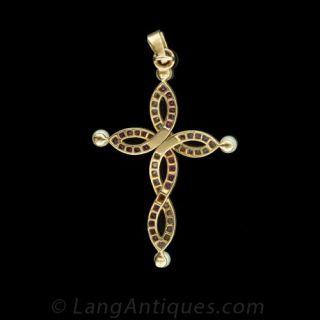 Victorian Ruby, Diamond and Pearl Infinity Cross Pendant