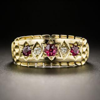 Victorian Ruby Diamond Band Ring - 1