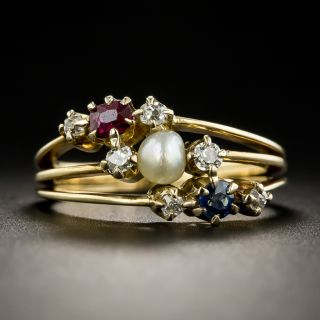Victorian Ruby Sapphire, Diamond and Pearl Ring - 1