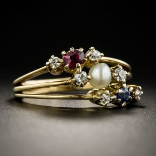 Victorian Ruby Sapphire, Diamond and Pearl Ring