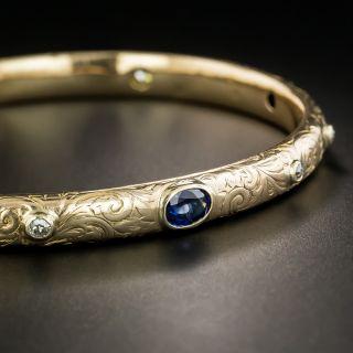 Victorian Sapphire and Diamond Bangle Bracelet - 1