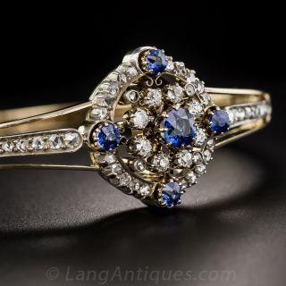 Victorian Sapphire and Diamond Circlet Bangle Bracelet