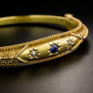 Victorian Sapphire and Diamond Etruscan Revival Bangle - 2