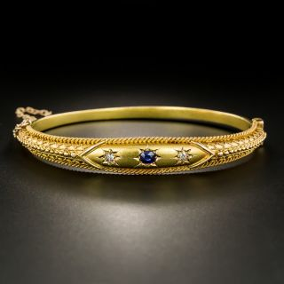 Victorian Sapphire and Diamond Etruscan Revival Bangle