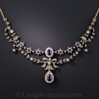 Victorian Sapphire and Diamond Necklace - 2