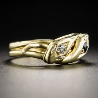 Victorian Sapphire and Double Snake Ring