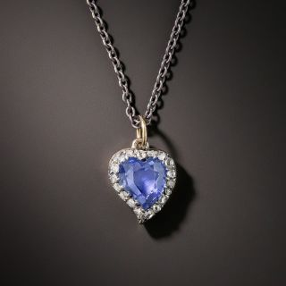 Victorian Sapphire and Rose-Cut Diamond Witch's Heart Drop - 2