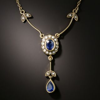 Victorian Sapphire and Seed Pearl Necklace - 3
