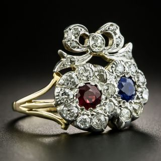Victorian Sapphire, Ruby and Diamond Lover's Heart Ring