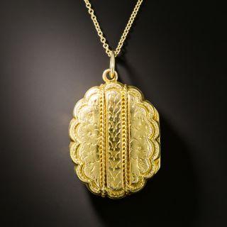 Victorian Scalloped Locket Pendant