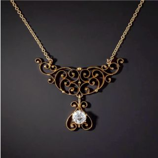 Victorian Scroll Necklace with .68 Carat Diamond Dangle - 2