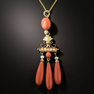 Victorian Seed Pearl and Coral Dangle Pendant - 3