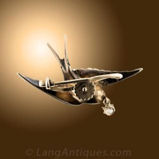Victorian Seed Pearl and Diamond Bird Brooch