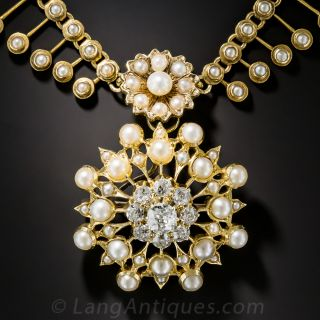 Victorian Seed Pearl and Diamond Necklace