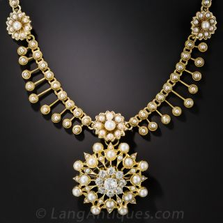 Victorian Seed Pearl and Diamond Necklace - 2