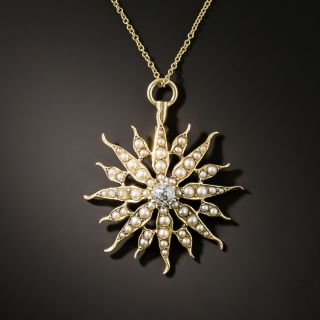 Victorian Seed Pearl and Diamond Pendant by J. Solinger - 2