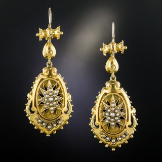 Victorian Seed Pearl Dangle Earrings - 2