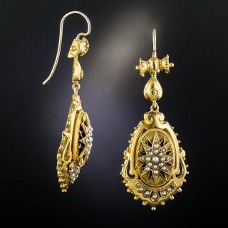 Victorian Seed Pearl Dangle Earrings