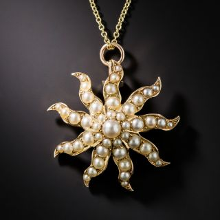 Victorian Seed Pearl Spiral Pendant - 1