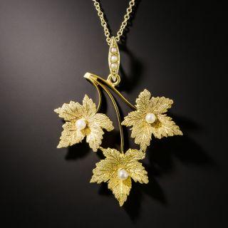Victorian Seed Pearl Three-Leaf Pendant