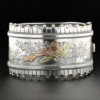 Victorian Silver and Gold Lovebirds Bangle
