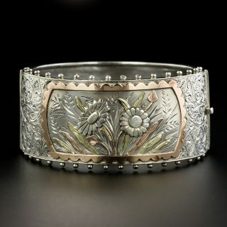 Victorian Silver and Gold Overlay Bangle Bracelet - 2