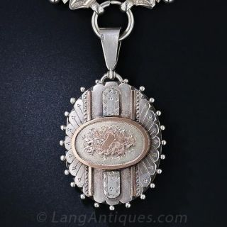 Victorian Silver and Rose Gold Collar and Locket