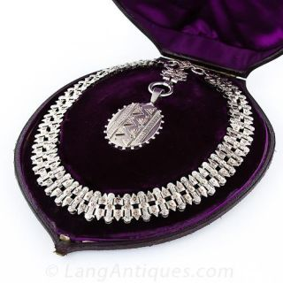 Victorian Silver and Rose Gold Locket Necklace - 1