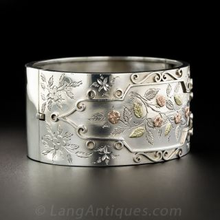 Victorian Silver and Two-Tone Gold Bangle