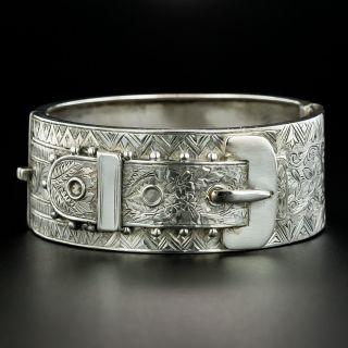 Victorian Silver Buckle Bangle, Circa 1885  - 2