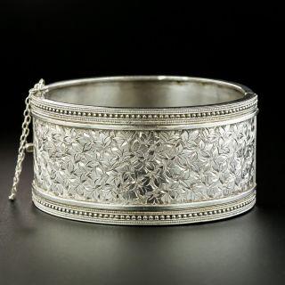 Victorian Silver Engraved Bangle Bracelet - 2