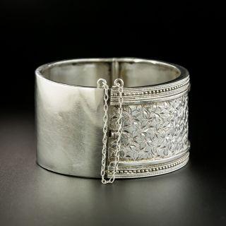 Victorian Silver Engraved Bangle Bracelet