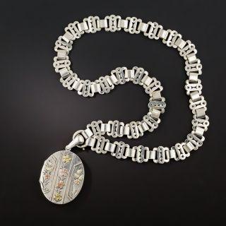 Victorian Silver Floral Locket Necklace - 2