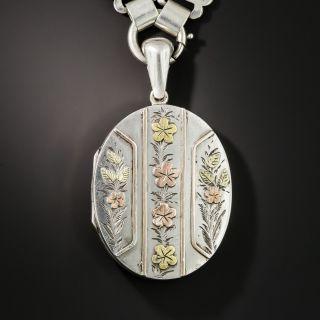 Victorian Silver Floral Locket Necklace