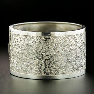 Victorian Silver Floral Motif Engraved Bangle Bracelet - 2