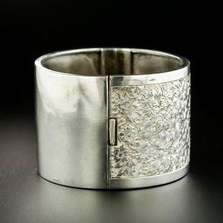 Victorian Silver Floral Motif Engraved Bangle Bracelet