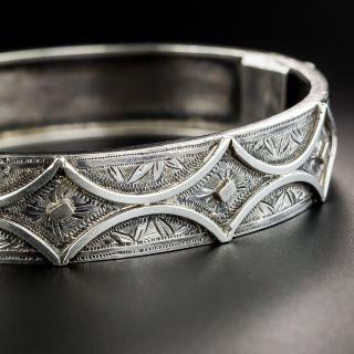Victorian Silver Hinged Bangle Bracelet - 2
