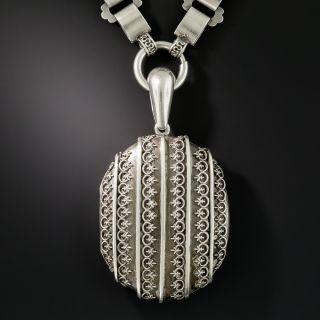 Victorian Silver Locket Necklace - 2