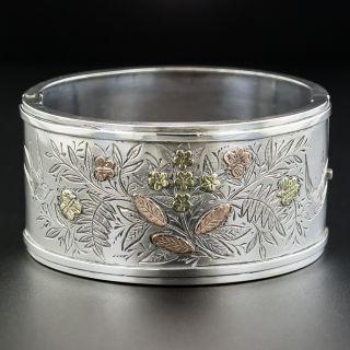Victorian Silver Two-Tone Gold Bangle