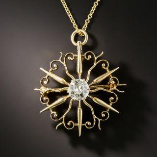 Victorian Starburst Diamond Pendant - 2
