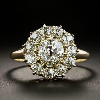 Victorian Style 1.07 Carat Center Diamond Halo Ring - 1